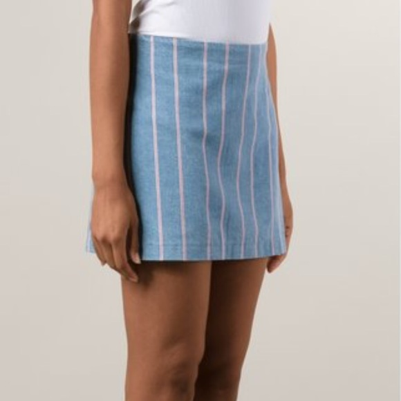 266648a6c2 T by Alexander Wang Skirts | Stripes Denim Mini Skirt Euc | Poshmark